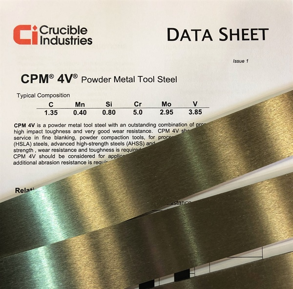 CPM-4V - High hardness, good toughness and great wear resistance!
